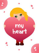 My big pink heart — Stock Vector