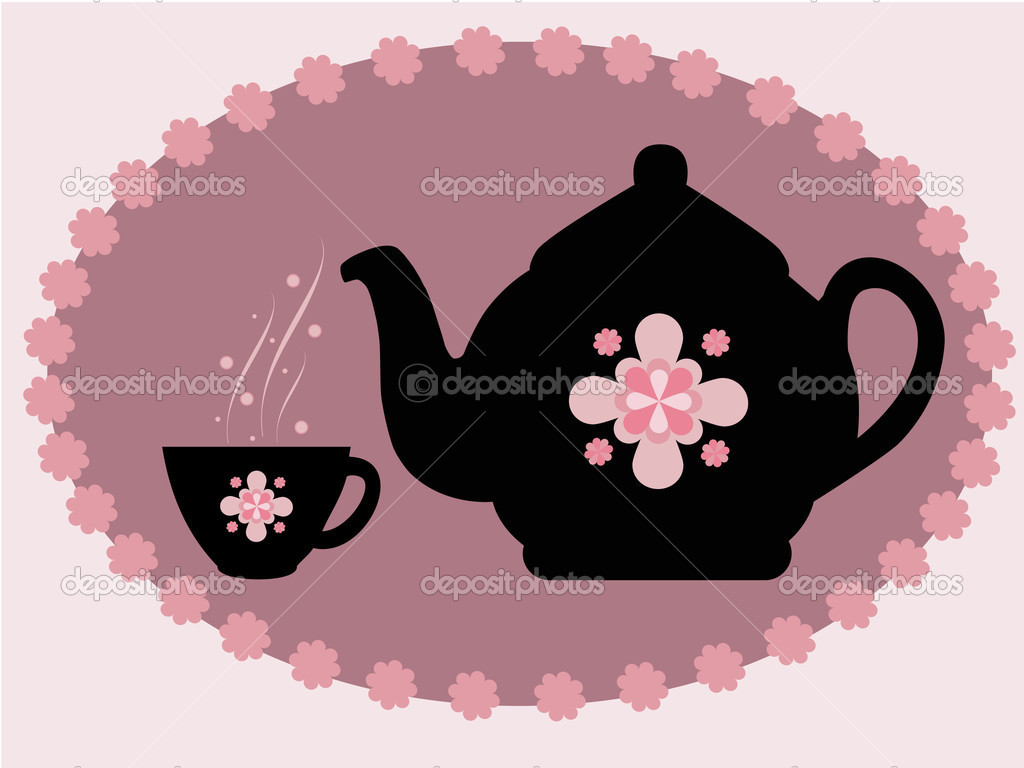 Decorative teapot and a cup of tea — Stock Vector #2072962