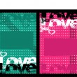 Grunge love background — Vector de stock