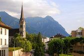 Vaduz church, downtown and Alps, Liechte — Stock Photo