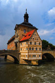 Town hall and Regnitz river, Bamberg — Stock Photo
