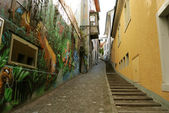 Small alley with painted wall. Zurich — Stock Photo