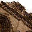 Notre Dame Cathedral rear view in sepia — Stock Photo