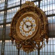 Golden clock on the wall of d'Orsay — Stock Photo