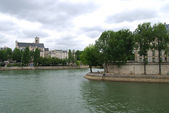Seine and De La cite island — 图库照片