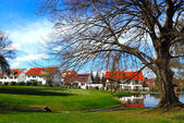 Picturesque park and residential distric — Stock Photo