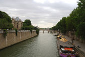 View of Seine river with Notre Dame cath — Stok fotoğraf