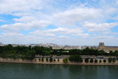Panoramic view of Seine bank and Paris c — Stok fotoğraf