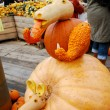 Pumpkin statue of kangaroo with baby — Stock Photo