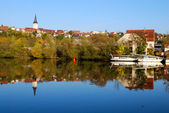 Freiberg pier and its reflection in Neka — Stock Photo
