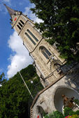 Liechtenstein church and statue — Foto de Stock
