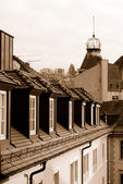 Roofs of Baden Baden in sepia color — Stock Photo