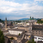 Salzburg monastery and cityscape — Stock Photo