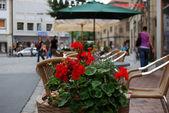 Kırmızı çiçekler ve sokak Cafe — Stok fotoğraf