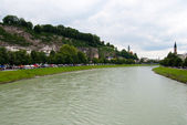 Salzach river and Salzburg embankment — Stock Photo
