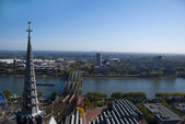 Cologne cathedral's tower and Rhein — Stock Photo