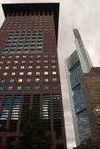 Banka bölgesinde, frankfurt gökdelenler — Stok fotoğraf