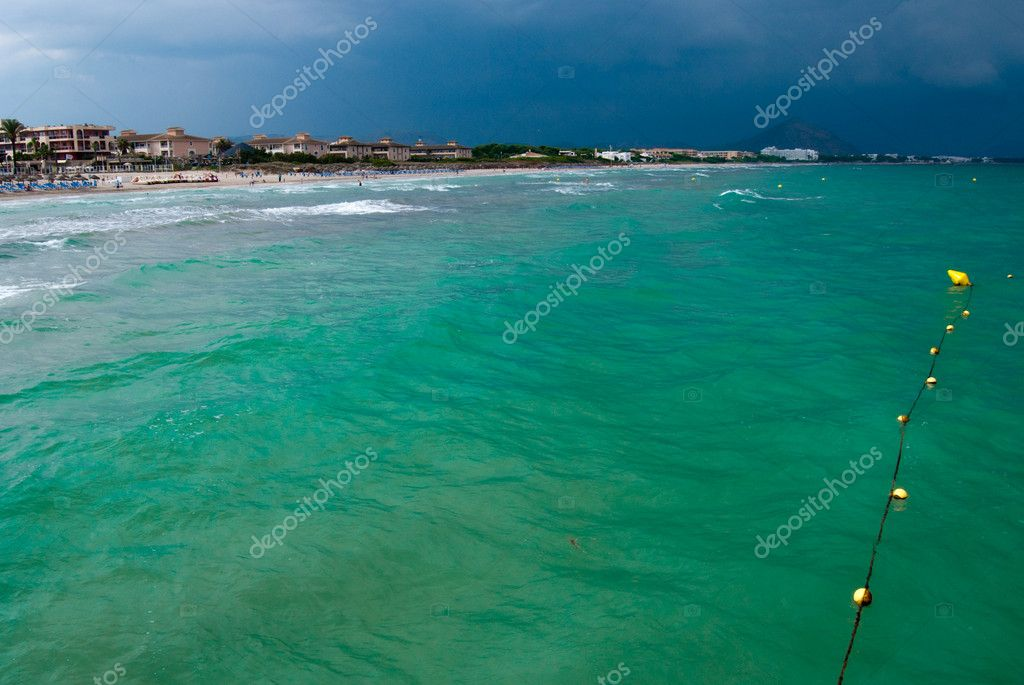 Emerald waters of the Mediterranean Sea and the yellow buoy, Majorca, Spain — Stock Photo #2098532