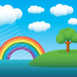 Rainbow landscape - Stock Vector