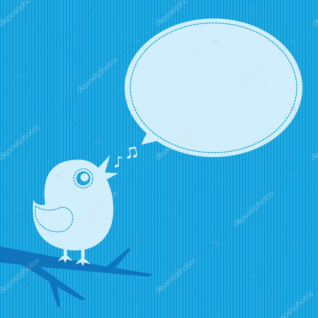 Singing bird with speech cloud on blue background — Stock Vector #2075065