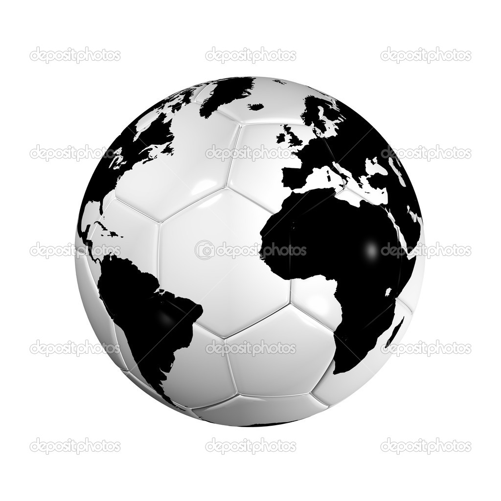 3D isolated Black and white soccer ball with world map, world football cup 2010  Stock Photo #2069878