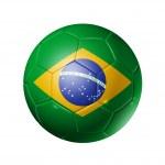 ballon de football soccer avec le drapeau du Brésil — Photo