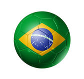 Soccer football ball with brazil flag — Zdjęcie stockowe
