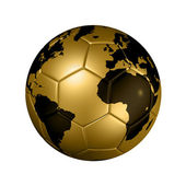 Gold soccer football ball World globe — Stock Photo