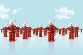Old metal robots army — Stock Photo