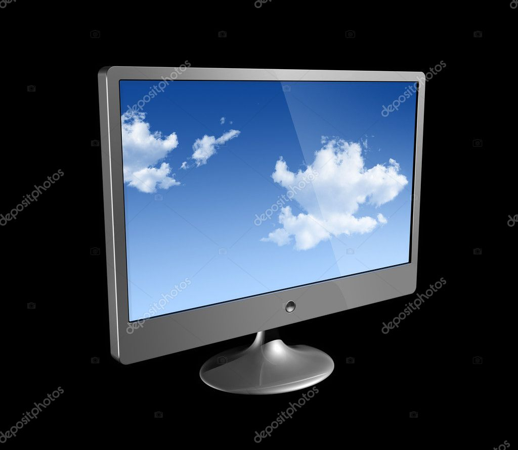 Three dimensional flat computer monitor isolated on black — Stock Photo #2070058
