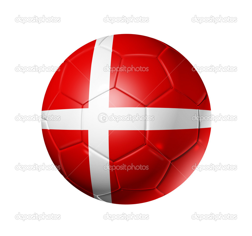 3D soccer ball with Denmark team flag, world football cup 2010. isolated on white with clipping path — Stock Photo #2070556