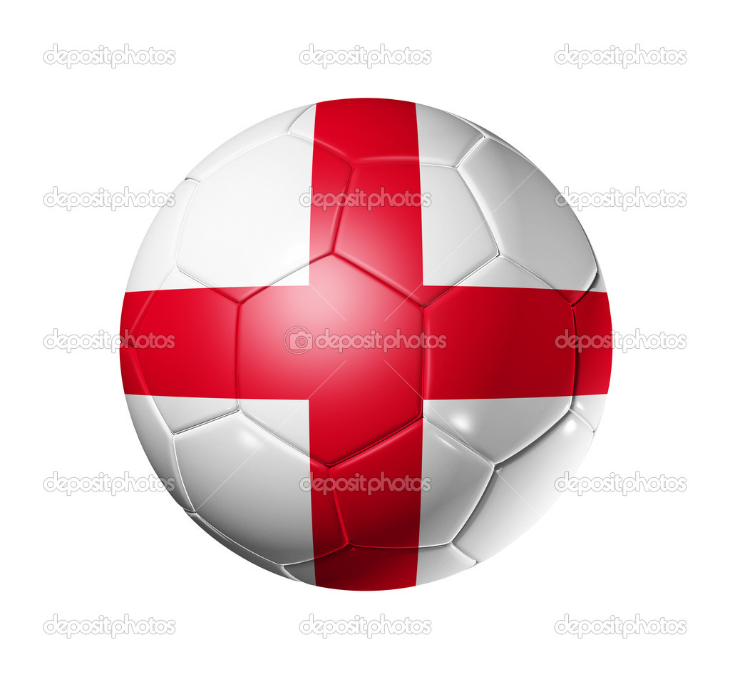 3D soccer ball with England team flag, world football cup 2010. isolated on white with clipping path  Stock Photo #2071039