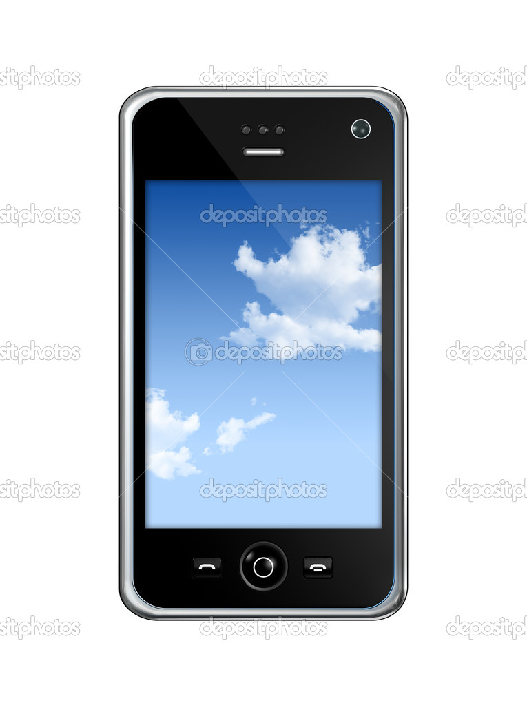 Three dimensional mobile phone isolated on white whith clipping path — Stock Photo #2071866