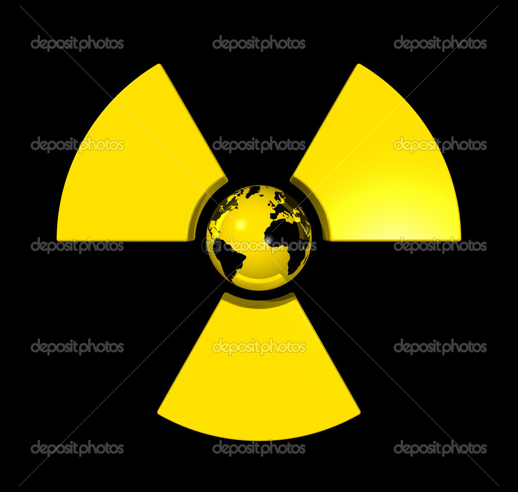 3D isolated world globe in the center of a radioactive symbol icon  Stock Photo #2072005