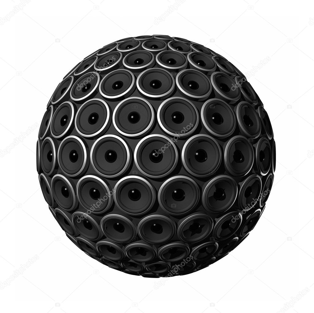 Three dimensional speakers sphere isolated on white  Stock Photo #2073961