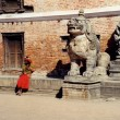 Brahman and lion statue in kathmandu - Stock Photo