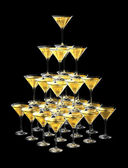 3D pyramid of champagne glasses — Stock Photo