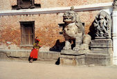 Brahman and lion statue in kathmandu — Stock Photo
