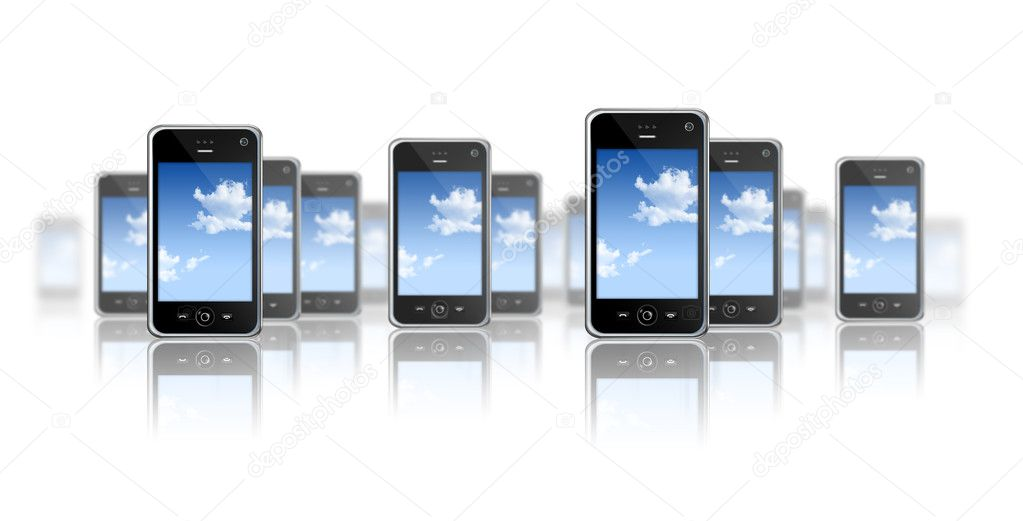 Many three dimensional mobile phones on a white background — Stock Photo #2094600