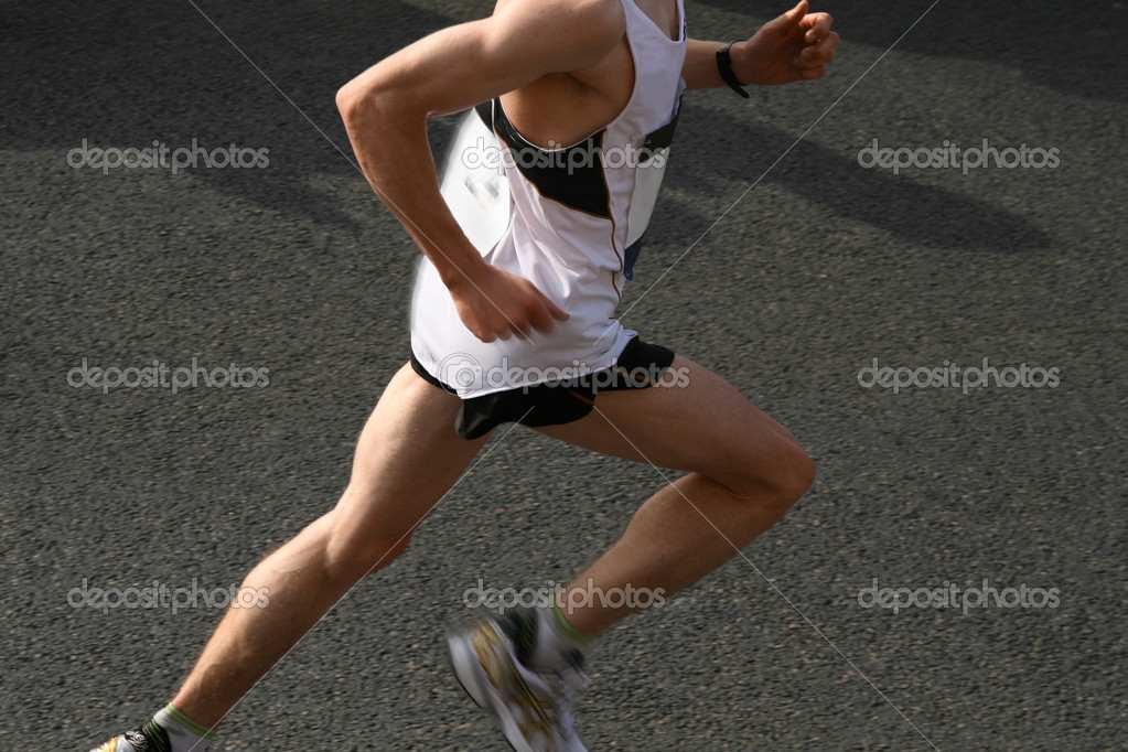 Athlete running a marathon — Stock Photo #2094778