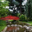 Red bridge in a japanese garden — Stok fotoğraf