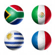 Soccer world cup group A flags on soccer — Stock Photo