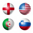 Soccer world cup group C flags on soccer — Stock Photo