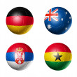 Soccer world cup group D flags on soccer — Stock Photo