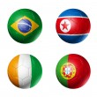 Soccer world cup group G flags on soccer — Foto Stock