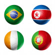 Soccer world cup group G flags on soccer — Stock Photo