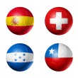 Stock Photo: Soccer world cup group H flags on soccer