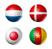 Soccer world cup group E flags on soccer — Stock Photo