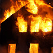 Burning house - Foto Stock