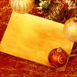 Christmas Card and Ornaments — Stockfoto